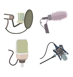 studio microphone icon set cartoon style vector image