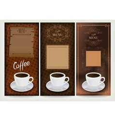 Three coffee design templates vector