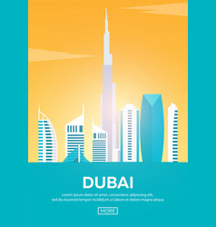 travel poster to dubai landmarks silhouettes vector image
