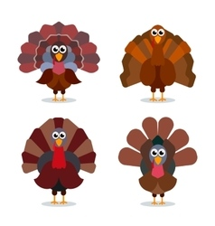 Turkey cartoon collection Happy Thanksgiving vector image