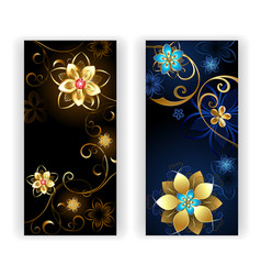 two banners with the jewelry flowers vector image vector image
