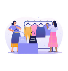 two female merchandisers are working in a shop vector image