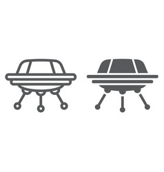 ufo line and glyph icon space and spacecraft vector image