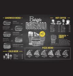 vintage chalk drawing burger menu design vector image