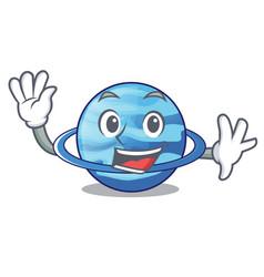 Waving uranius plenet is isolated on mascot vector