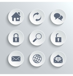 web icons set - white round buttons vector image