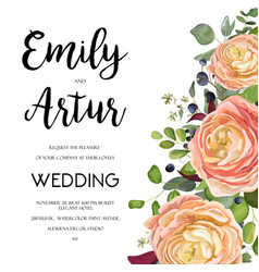 wedding floral invite card design with flowers vector image