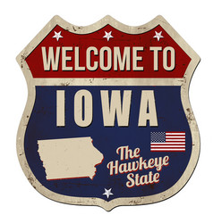Welcome to iowa vintage rusty metal sign vector