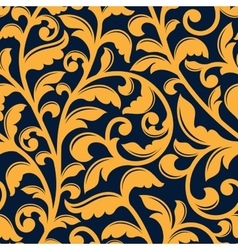 Yellow floral seamless pattern in baroque style vector