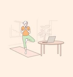 Yoga sport quarantine training education vector