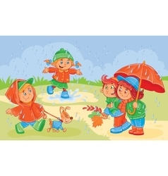 Young children playing vector