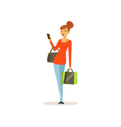 Young woman with shopping bags and phone girl vector