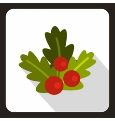 Christmas berries icon flat style vector image