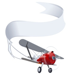 retro airplane with banner vector image vector image