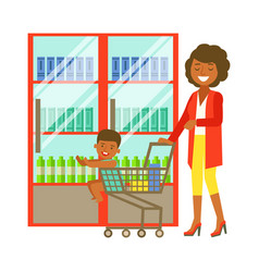 young woman pushing a supermarket cart with some vector image vector image