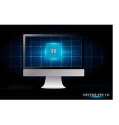 desktop computer with electronic circuit board vector image