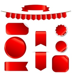 Red Ribbons Set isolated On White Background vector image