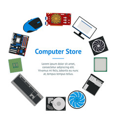 cartoon pc components for computer store banner vector image