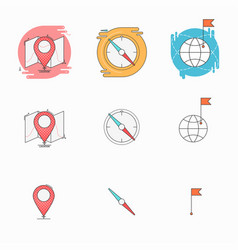 check point with map compass pointer flag with vector image