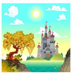 Fantasy landscape with castle vector