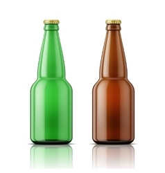 Green and brown beer bottles with cap vector image