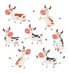 Set of funny spotted cow characters standing vector image vector image