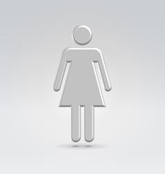 Silver metal female icon vector image vector image