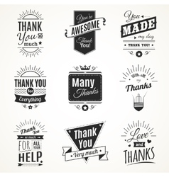 Thank you monochrome isolated signs vector