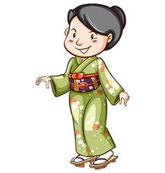An Asian wearing a dress vector image