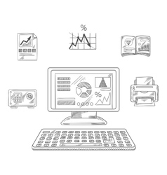 Business financial and office objects vector image vector image