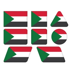 buttons with flag of Sudan vector image vector image