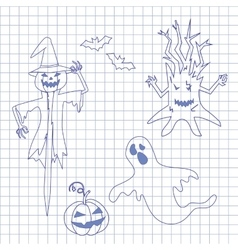 Collection icons for halloween on notebook vector image