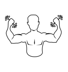 Silhouette muscular man lifting a dumbbells icon vector