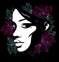 silhouette of a female face decorated with flowers vector image vector image