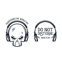 Skull in headphones print with quote Vintage vector image