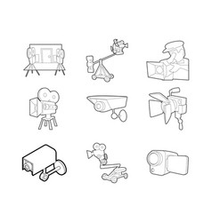 video camera icon set outline style vector image vector image