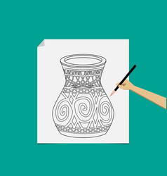 artist sketching pottery on white paper vector image