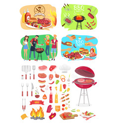 Bbq grill party time posters vector