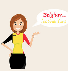 belgium football fanscheerful soccer fans sports vector image