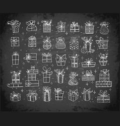 big set doodle christmas gift boxes on vector image