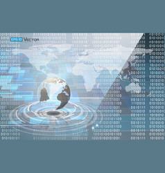 binary code and world map vector image