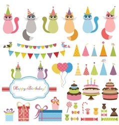 Birthday party elements and cats vector
