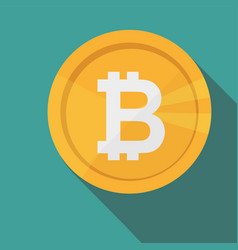 bitcoin circle icon with long shadow flat design vector image