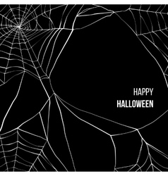 Black background with spider web vector image