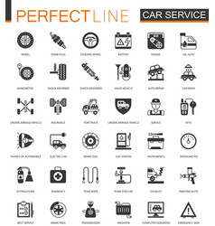 Black classic car service icon set repair car vector