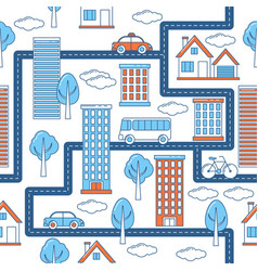 buildings vehicles roads and trees pattern vector image