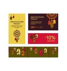 Business cards with dreamcatchers vector image