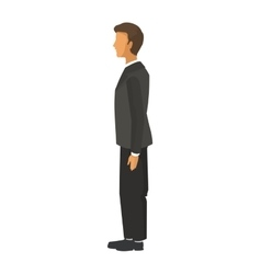 Businessman standing profile icon vector