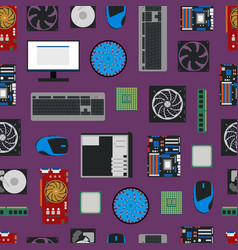 cartoon pc components seamless pattern background vector image