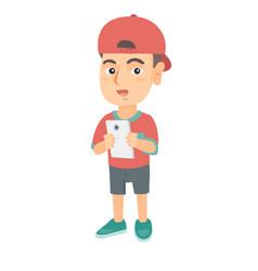 Caucasian boy using a smartphone vector